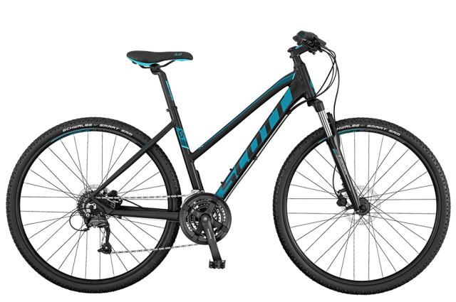 Scott Sub Cross 40 Black Teal Ladies Hybrid Bike